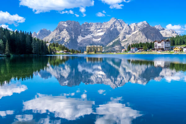 Lake Misurina with reflection of clear blue sky in the summer season